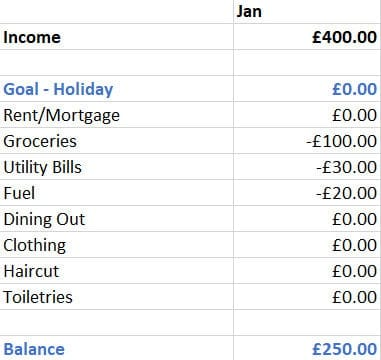 How to budget your money - Month 1 example