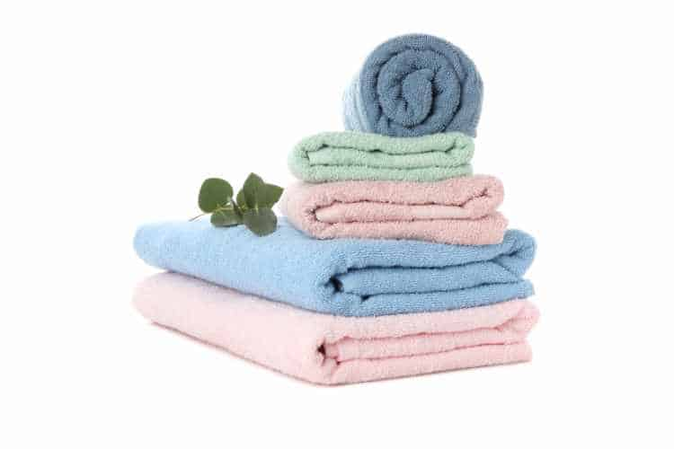 stack of cotton towels for yoga