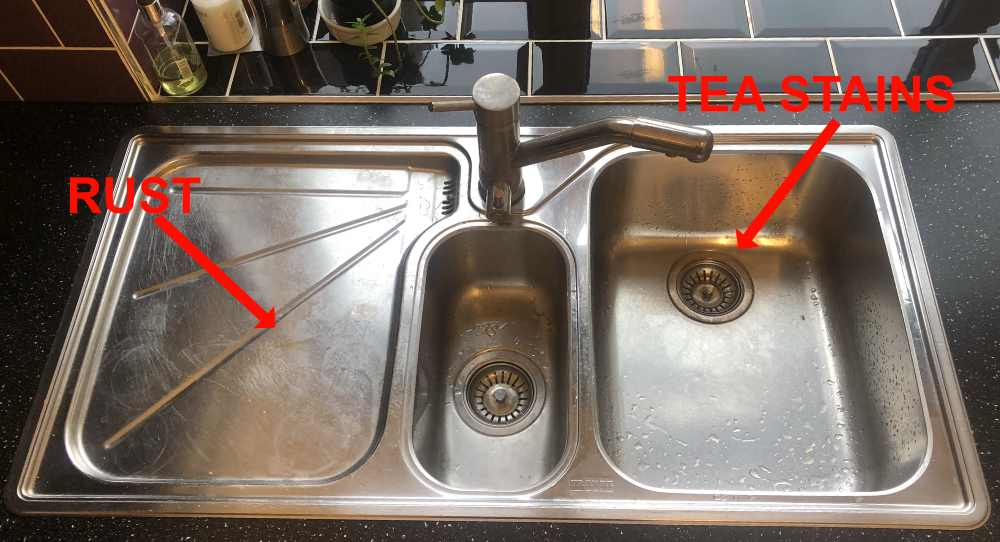 stainless stell sink before cleaning