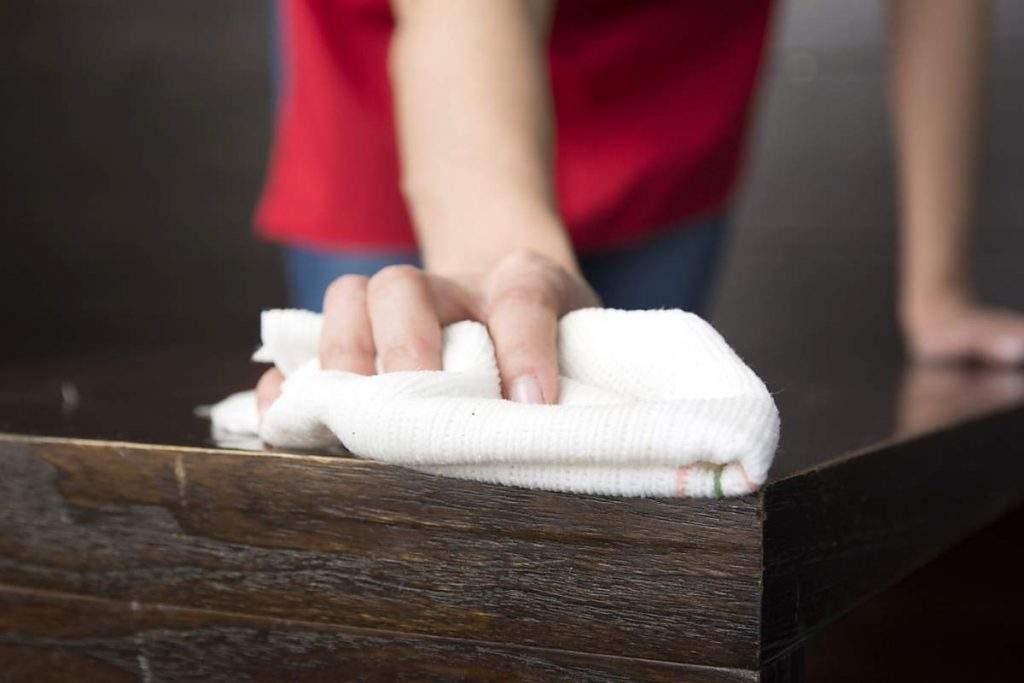 cleaning ingrained dirt from a table