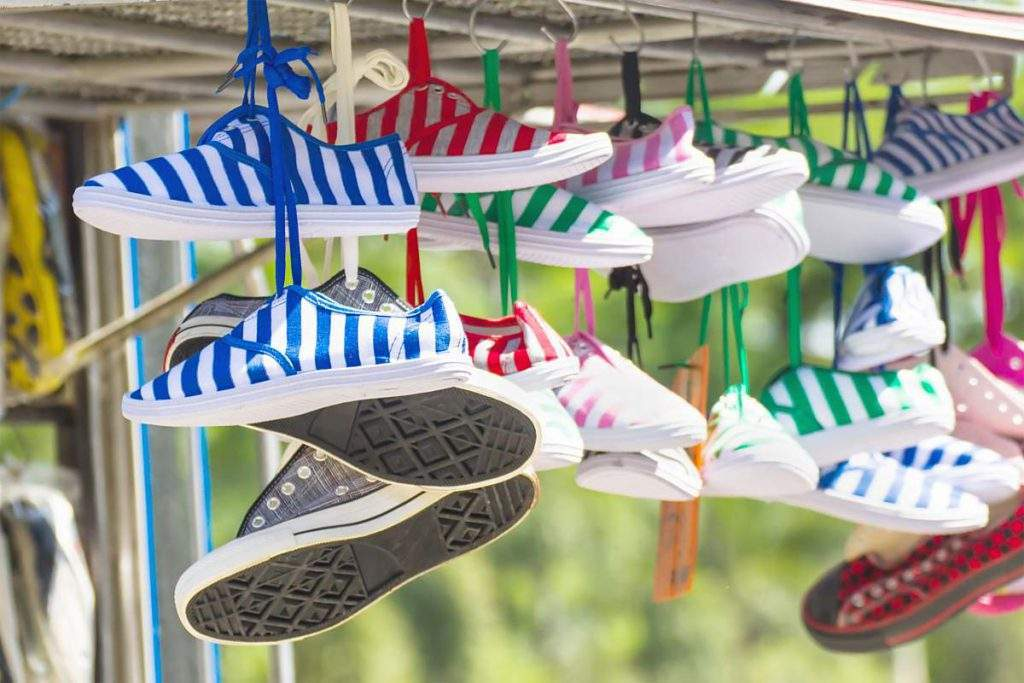 trainers on a washing line
